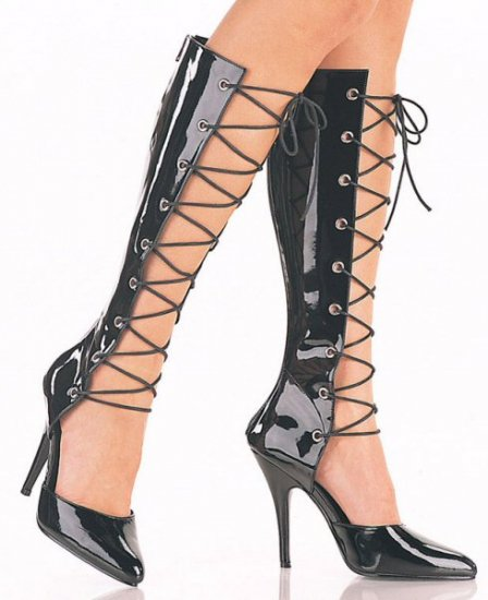Seduce - Women's Knee High Boot with Open Front and Lace Up Tie