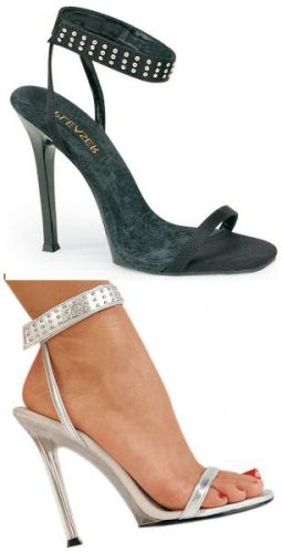 Gala - Women's Strappy Sandals with Rhinestone Studded Ankle Wrap