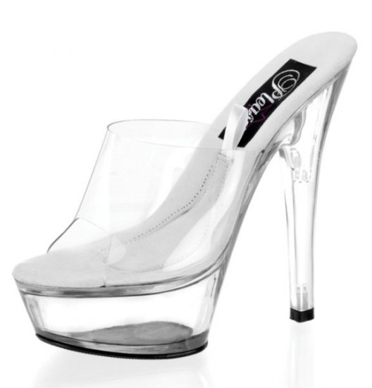Treasure Chest - Women's Clear Hollow Platform Shoes with Single Clear Strap