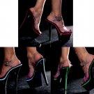 Neonlite - Clear Ankle Strap Platform Sandals with UV Reactive Trim