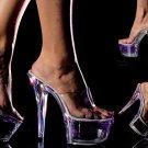 Neonlite - Women's Neon Lite in Clear Platform Heels
