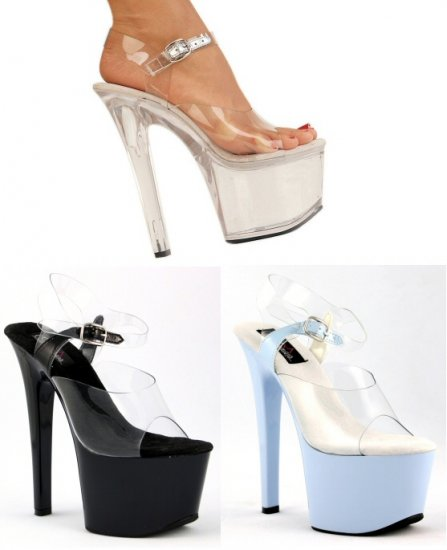 """Sky"" - Women's Clear Ankle Strap Platform Spike Heel Shoes"