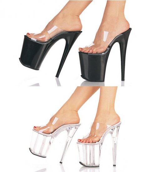 Highlife - Women's High Platform Heels with Double Clear Straps