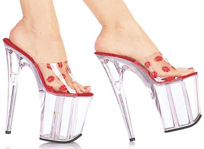High Life - Women's Shoes with Glitter Filled Platform and Kisses Design