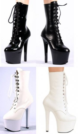 Sky - Women's Calf High Leather Boots with Front Lace Up and Spike Heels