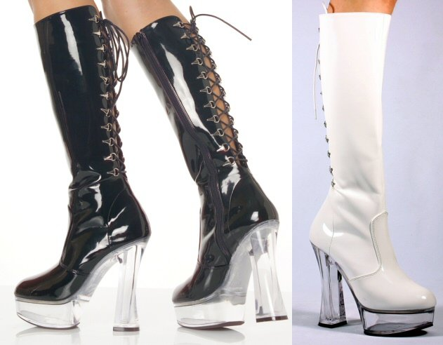 """Expose"" - Women's Clear Heel Knee High Boot with Back Lacing"