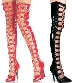 Seduce - Women's Thigh High Boots with Open Front and Lace Up Wrapping