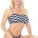 Checker Print Crop Cami and Thong Set