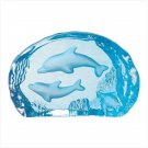 BLUE GLASS CARVED DOLPHINS---Item #: 30071