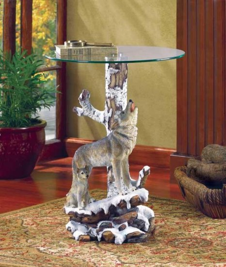 WOLF TABLE W/GLASS TABLETOP---Item #: 37918