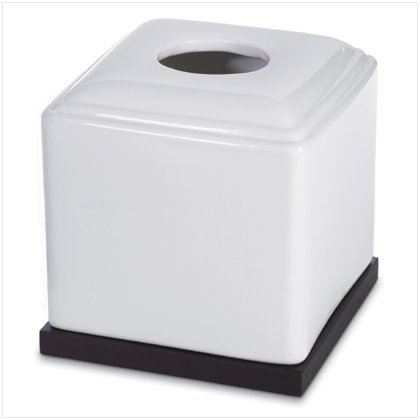 BLK & WHI CERAMIC TISSUE BOX---Item #: 37560