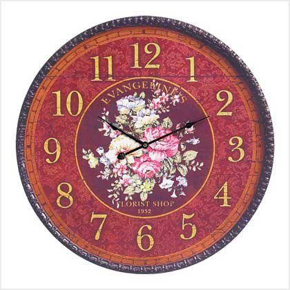 OVERSIZED FRENCH FLORAL CLOCK---Item #: 39151