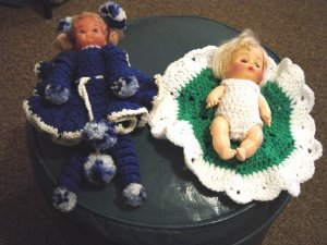 Two Vintage Dolls Hand Crocheted Clothes #600016