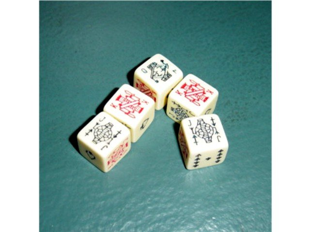 Set of Five Dice Nine through Ace at Little Shoppe of Toys #600061