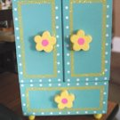 Yellow and Blue Wood Chest for Jewelry or Treasures #600336