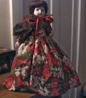 """15"""" Vintage Fine Bisque Porcelain Doll Long Brown Hair Poinsetta Flower Dress Fur Cape #600530"""