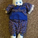 Vintage Porcelain Cloth Japanese Chinese Asian Delft Blue Doll #600624
