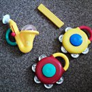 Set of 4 Kiddieland Plastic Toy Instruments Saxophone, 2 Cymbals, Harmonica #600632