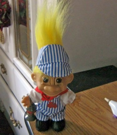 Cute Little Train Conductor Blond Russ Troll Doll with Lantern #600606