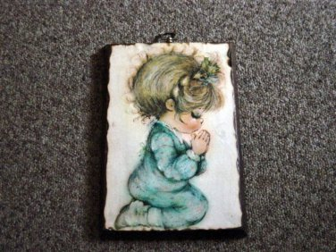 Old Wooden Small Girl Praying Picture Signed Mary #600352
