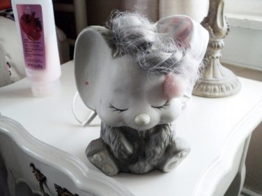 Adorable Gray and White Mouse with Hair and Nightcap Night light #600657