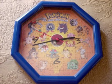 "11.5""  Pokemon Nintendo Puzzle Clock Hang or Stand #600394"