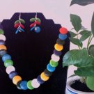 Necklace & Earrings- Multicolor Circle