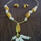 Long Necklace & Earrings- Lite Yellow & White