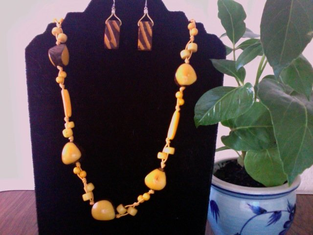 Long Necklace & Earrings- Yellow & Coffee