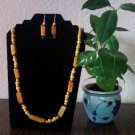 Long Rectango Necklace & Earrings- Lite Yellow