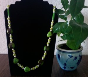 Long Necklace - Green & Ivory