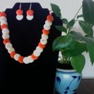 Necklace & Earrings- Orange & Ivory