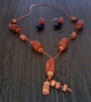 Long Necklace & Earrings- Lite Orange & Black