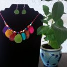 Tagua Necklace & Earrings - Multicolor Petal