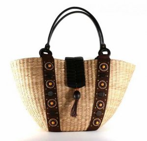 Gypsy - Staw Basket w/ Brown Fabric Trimmings
