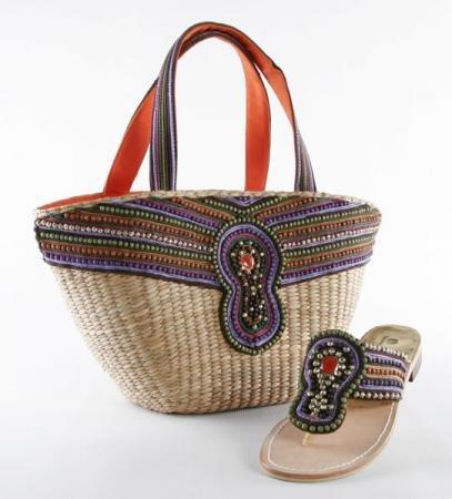 Marrakesh Basket - Straw Basket w/ Purple Beads