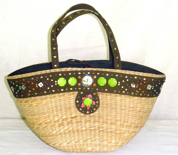 Encrusted -  Straw Basket w/ Metal Studs, Wooden Beads and Natural Shells