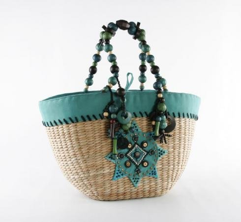 La Boheme - Straw Basket w/ Wood Beads