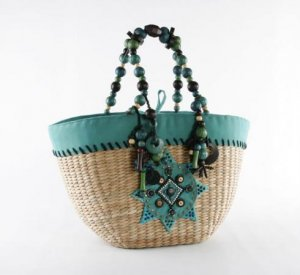 La Boheme - Straw Basket w/ Wood Beads