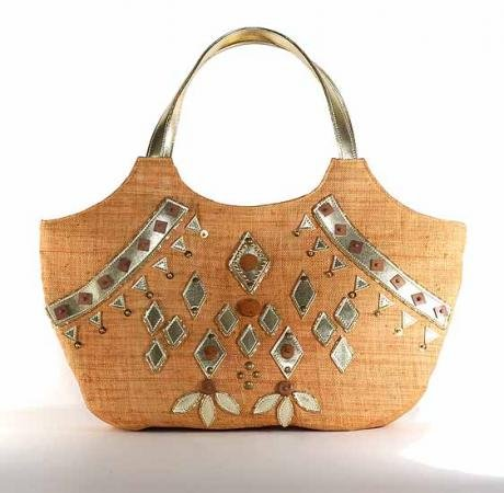 Mirrors - Tote Bag w. PVC Applique and Wood Embellishment