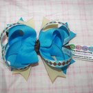 B87- Blue and Brown Boutique Bow