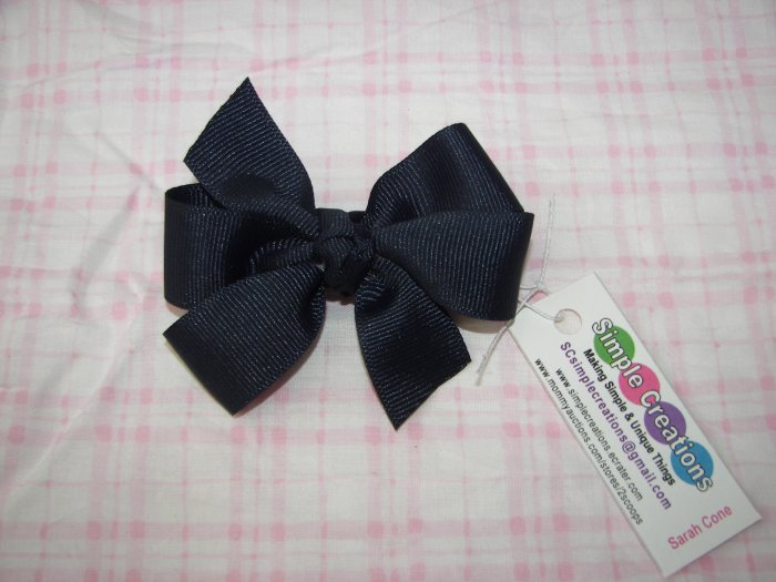 B64- Very Dark Blue Small Pinwheel Bow