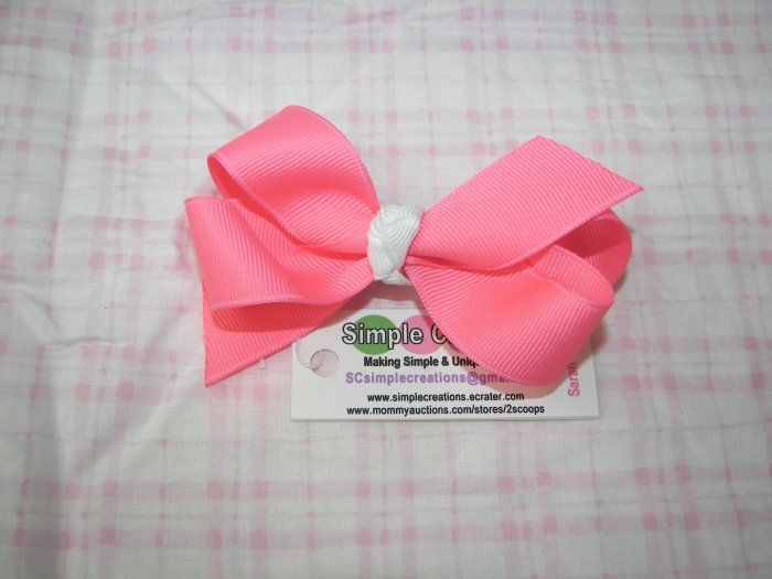 A98- Neon Pnk Boutique Bow