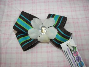 A67- Brown, Green and Blue w/flower Bow