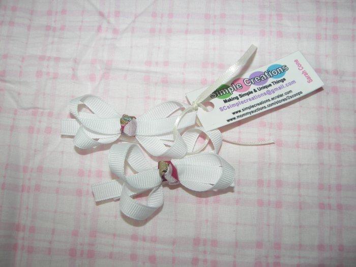 A14- White Tiny Boutique Bow Set
