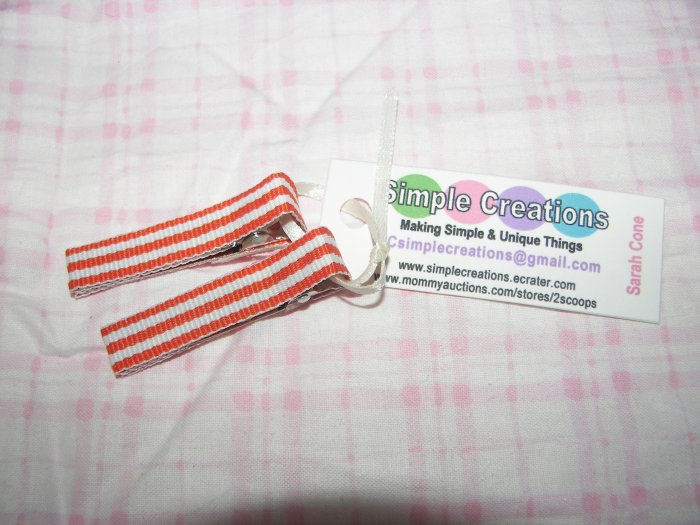 A51- Orange Striped Simple Clip Set