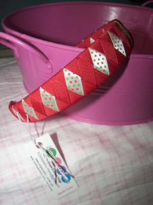 B12- Red with Polkadots Woven Headband
