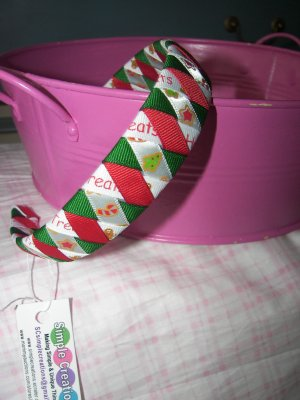 B58- Red/Green Christmas Woven Headband