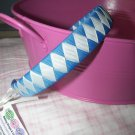A27- White and Blue Woven Headband