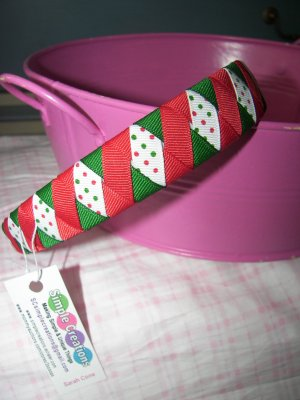 B59- Red/Green  Polkadot Christmas Woven Headband